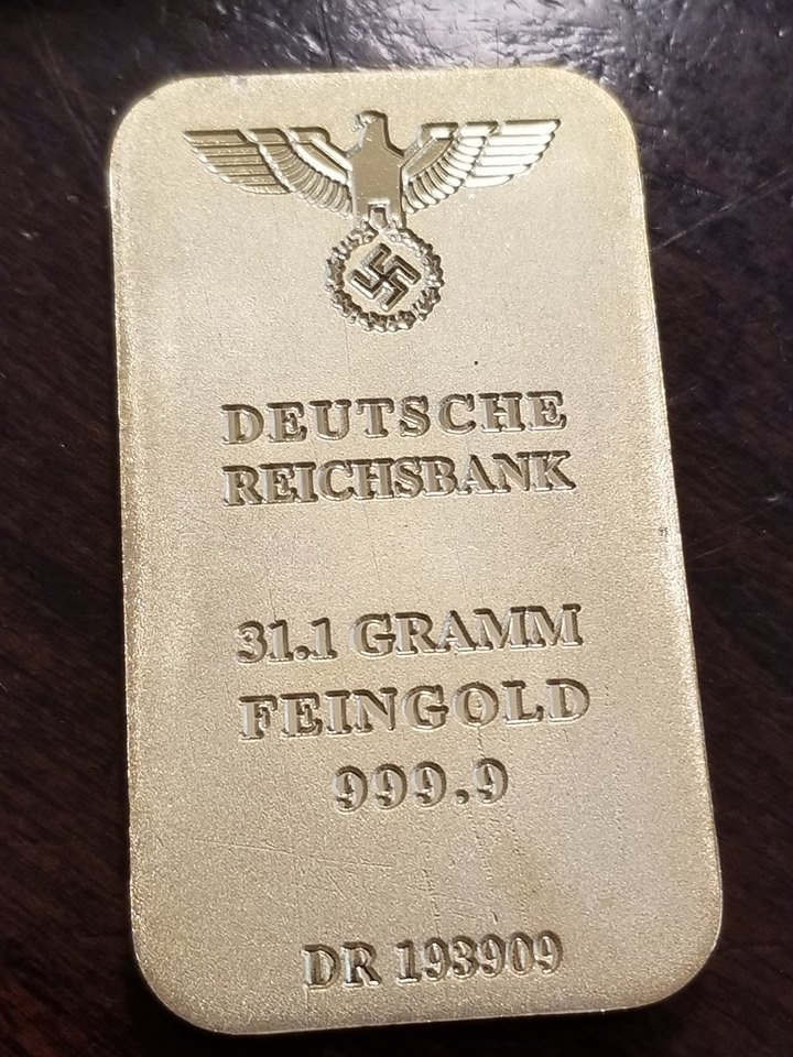 WWII WW2 Nazi German Gold bar w swastika eagle