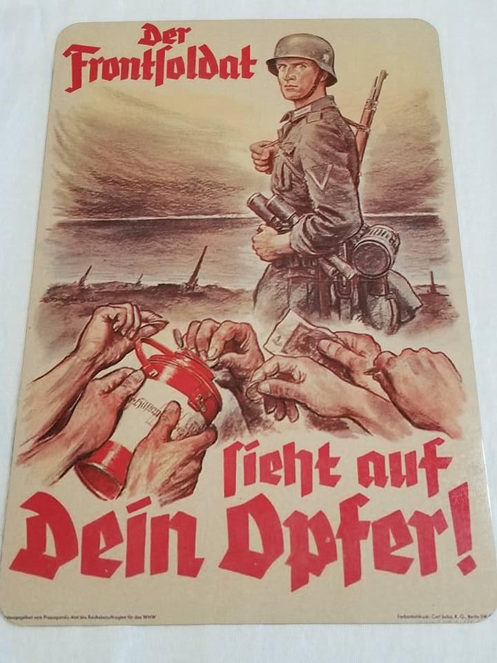 WWII WW2 Nazi German Army Soilder Battle Propaganda Metal sign