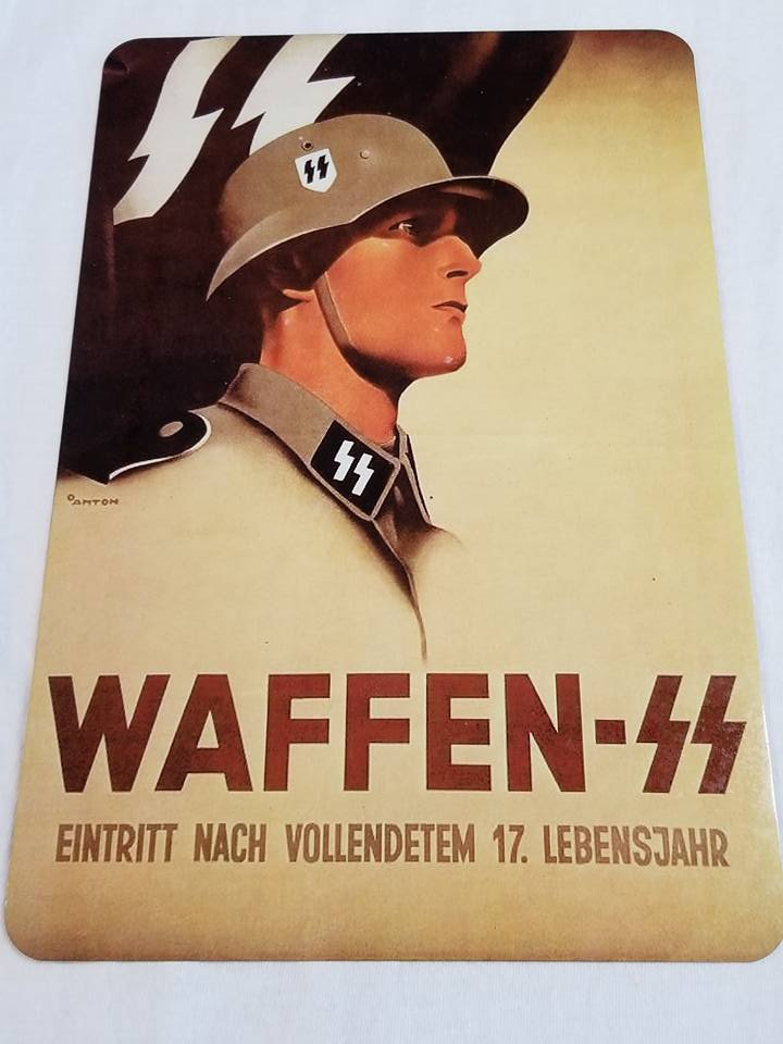 WWII WW2 Nazi German Waffen SS Propaganda Metal sign