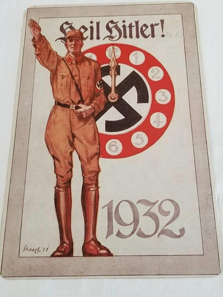 WWII WW2 Nazi German Clock 1932 Propaganda Metal sign