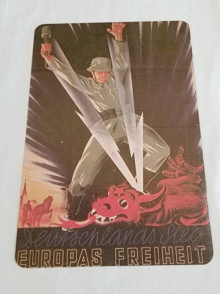 WWII WW2 Nazi German Dragon Fire Propaganda Metal sign