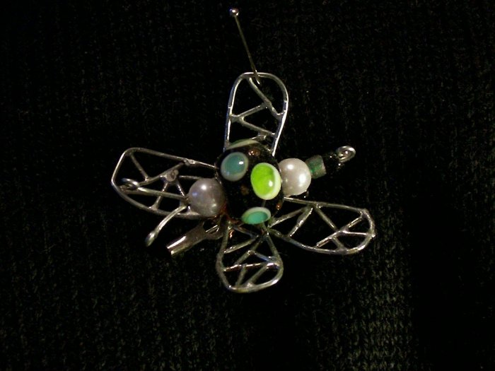 Black and Green Butterfly Wire & Lampworked Pin Brooch