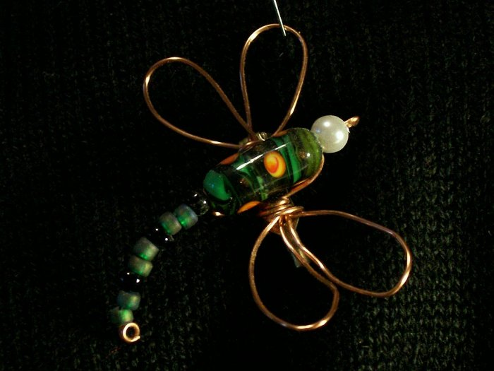 Green and Yellow Dragonfly Pin Lampworked and Wire Work