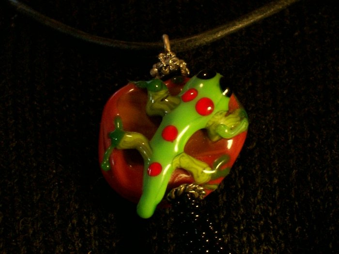 Lampwork Bead Gecko Green and Red Necklace Choker