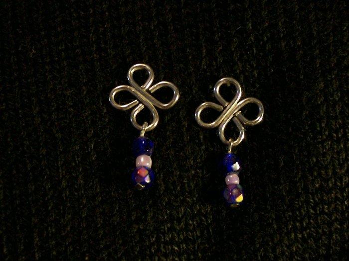 Shamrock Style Blue Bead Earrigs