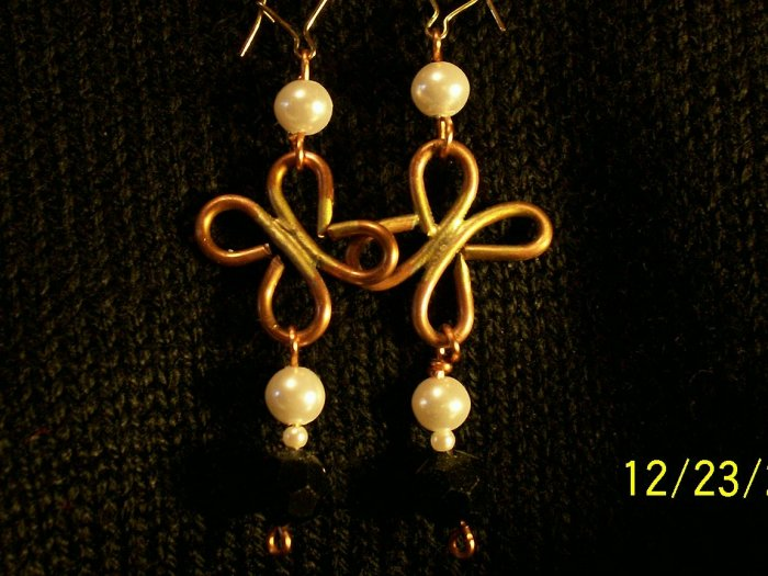 Wire Worked Earrings in Copper and Pearlized Beads