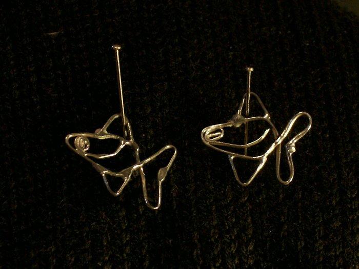 Silver Wirework FishPush Style  Earrings