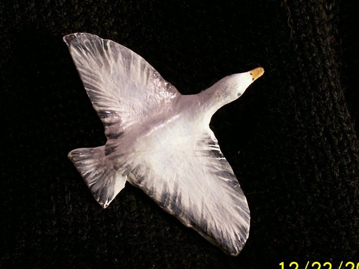Flying White Goose Polymer Clay Pin brooch