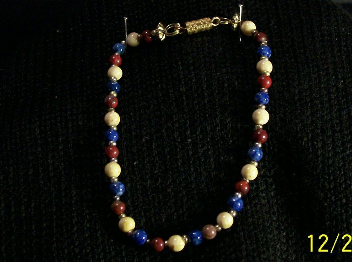 Fossil bead Bracelets in Cream Maroon blue & Golden Seed Beads