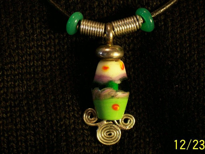 Lampwork Glass Horizon Pendant with Leather Strap