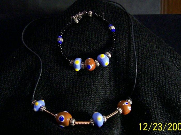 Fun Lampwoked Necklace Choker and matching bracelet