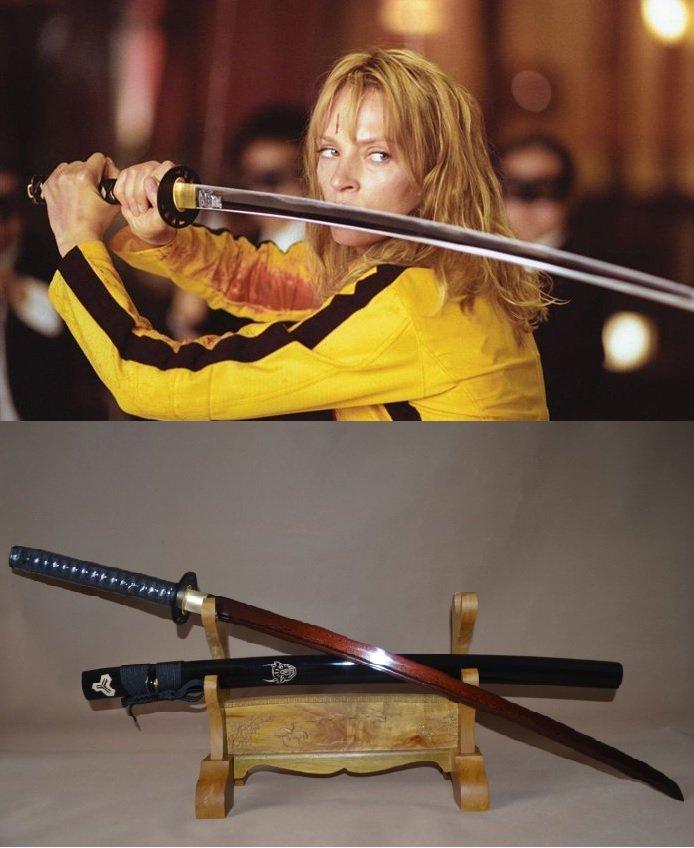 Kill Bill Sword Red&Black Samurai Katana Damascus Steel Full Tang Blade Iron Tsuba - Free Shipping