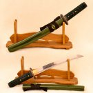 Samurai Short Sword Japanese Tanto Green Bamboo 1060 High Carbon Steel Full Tang - Free Shipping