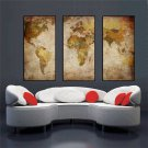 3 Panel Vintage World Map Canvas Painting Print Home Decor Wall Art