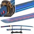 Handmade Japanese Katana Sword Changing Color Blade 1060 Carbon Steel Wave Hamon Battle Ready Sharp