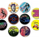 50s Rock n' Roll buttons/badges set of 10! (elvis presley,jerry lee lewis,chuck berry and more)