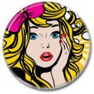 Vintage Girl button!  (25mm, badges, pins, girl power)