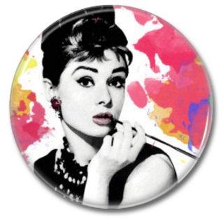 Audrey hepburn button! (25mm, badges, pins, vintage)