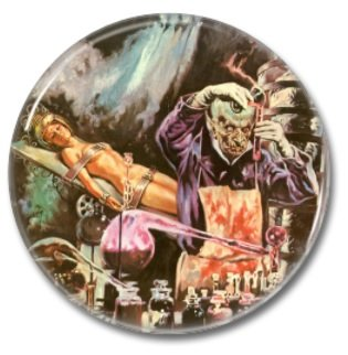 Mad Scientist button (1inch, 25mm, badges, pins, horror)