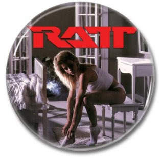RATT band button! (25mm, badges, pins, heavy metal, hair metal)