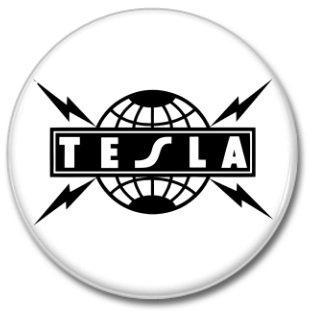 TESLA band button! (25mm, badges, pins, heavy metal, hair metal)