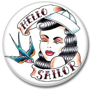 Hello Sailor button! (25mm, badges, pins, vintage)