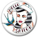 Hello Sailor button! (25mm, badges, pins, vintage)