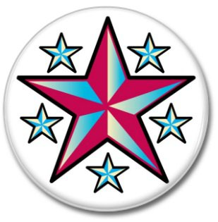 STARZ button! (25mm, badges, pins, vintage)