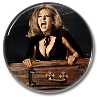 Hammer Films: Ingrid Pitt button (25mm, badges, pins, horror)