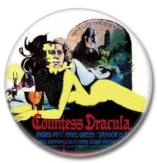 Hammer Films: Countess Dracula button (25mm, badges, pins, horror)