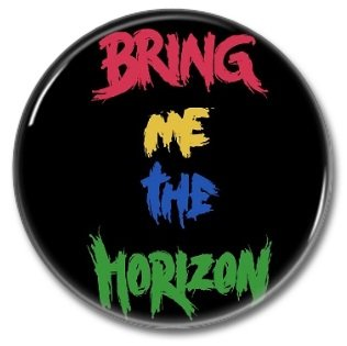 BRING ME THE HORIZON band button! (25mm, badges, pins, heavy metal, metalcore, deathcore)