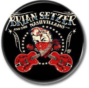 BRIAN SETZER band button! (25mm, badges, pins, rockabilly, psychobilly)