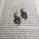 Bronze Octopus earrings (charms, pendants, vintage, tentacle,cthulhu, squid)