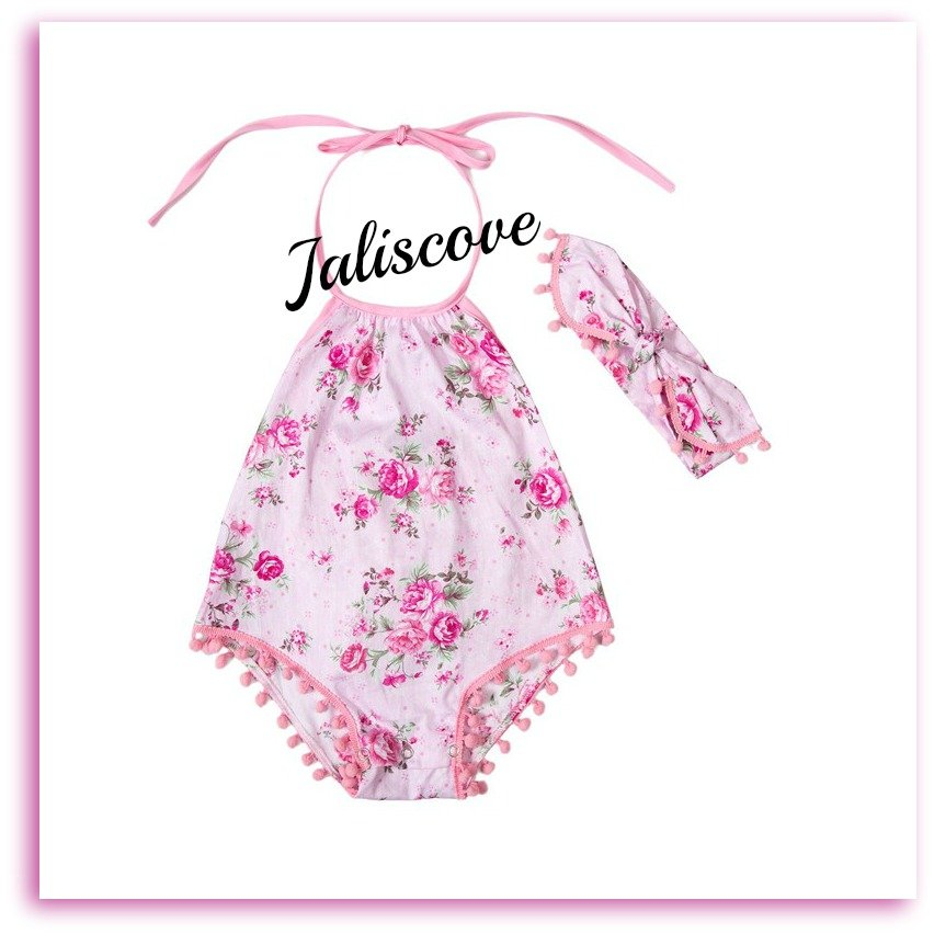 Pink Floral Romper with headband Size 3-6 months