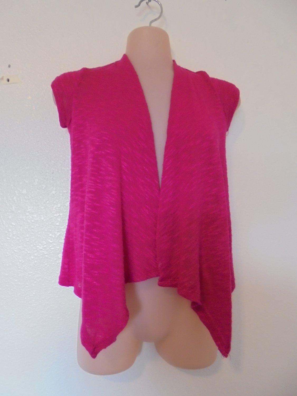 Arizona - Pink Open Front Cardigan, Sweater Short Sleeves Rayon/Poly Girls 7/8