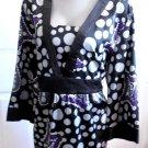 Apt 9 - Multi Colored w/Purple Hi Lights Fancy Career Blouse Ladies Plus 2X