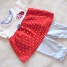 Kidgets - Ladybug, Polka Dot & Ruffles 2 Pc Outfit Girls Size 0-3 Mo. Cute