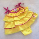 Dollhouse - Yellow Tiered Dress w/Tiny Rick Rack + Diaper Cover Baby Girls 0-3 M