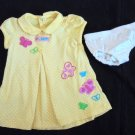 Child of Mine Yellow Polka Dot Butterfly SS Dress + Panty Infant Girls 3-6 Mo