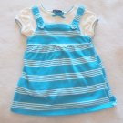 Faded Glory - 2 Pc Jumper w/Matching Top Aqua/Wte Cotton SS Baby Girls 12 Mo