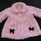 Little Lass Pk Faux Fur Rosettes, Heart Buttons, Blk Bows on Pockets Girls 24 M