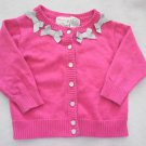 Hooray - Cotton Pink Cardigan w/Silver Bows and Buttons Baby Girls 12 Mo