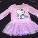 Sanrio - Hello Kitty Pink Dress Tulle Skirt w/Silver Bows Girls Size 12 Mo.