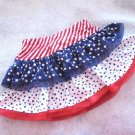 3 Star Anytime/Patriotic USA Fancy Tiered Skirt/Skort Baby Girls 2T