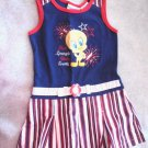 "Looney Tunes Patriotic ""Star Spangle Baby Tweety"" Dress Cotton! Girls Size 5T"