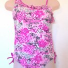 Ocean Pacific - 1 Shoulder Pink & Wte Ruffled 1 Pc Swimsuit Palm Trees Sz 10-12