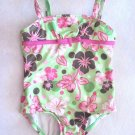 Penelope Mack - Green w/Multi Colored Flowers Swimsuit/Bathing Suit Girls 18 Mo.