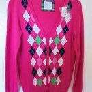 Justice - Pink w/Sparkly Diamond Shapes Cardigan NWT Retail $34.90 Girls 18