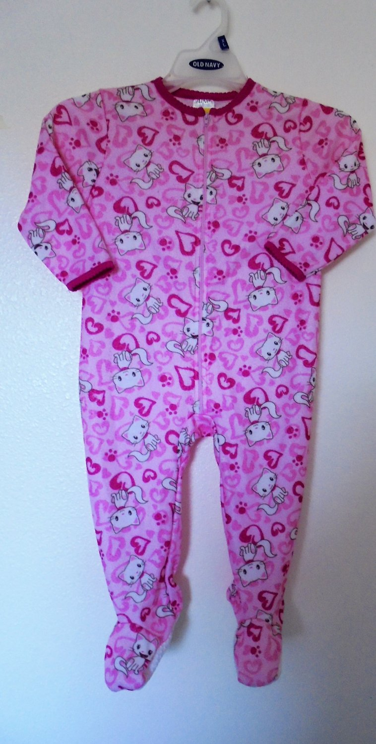 Steve - Pink Kitten & Hearts Pajamas Feet In, Polyester, Blanket PJ, Girls 3T