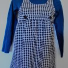 George/Faded Glory - Turquoise Top w/Blk & Wte Houndstooth Jumper Girls Size 12
